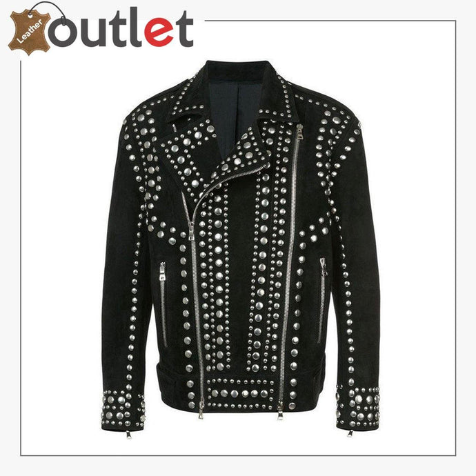 Handmade Men Black Punk Rock Studded Jacket