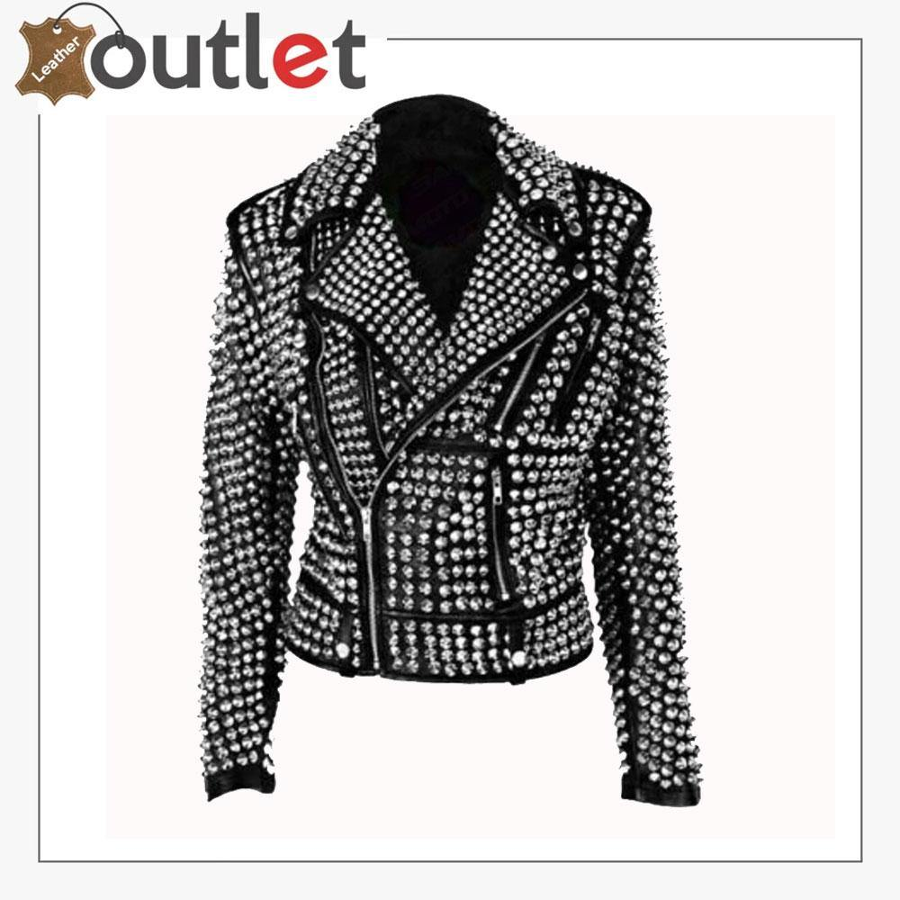 Handmade Women Black Fashion Studded Punk Style Leather Jacket