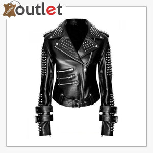 Handmade Women Black Punk Silver Spiked Studded Leather Biker Jacket - Leather Outlet