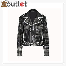 Load image into Gallery viewer, Handmade Women Philip Plein Black Fashion Studded Punk Style Leather Jacket