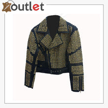 Load image into Gallery viewer, Handmade Womens Black Fashion Golden Studded Punk Style Leather Jacket