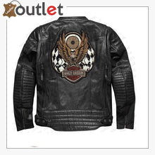 Load image into Gallery viewer, Harley Davidson Men Embroidery Eagle Design Natural Leather Jacket