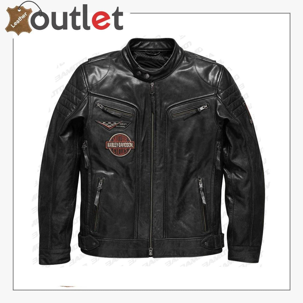 Harley Davidson Men Embroidery Eagle Design Natural Leather Jacket