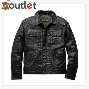 Harley-Davidson Men's Digger Slim Fit Washed Leather Jacket