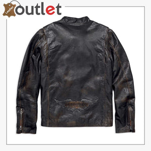Harley-Davidson Men's Speed Distressed Slim Fit Leather Jacket