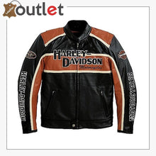Load image into Gallery viewer, Harley Davidson Mens Orange Stripe Classic Cruiser Winged Leather Jacket