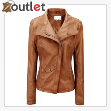 Load image into Gallery viewer, High Color Brown Leather Bomber Jacket For Women