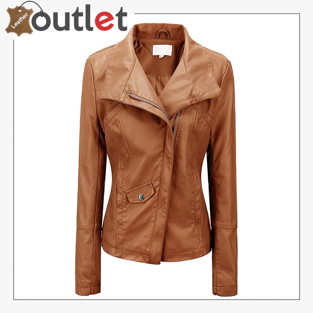 High Color Brown Leather Bomber Jacket For Women
