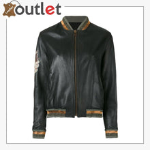 Load image into Gallery viewer, High Quality Black Leather Bomber Jacket