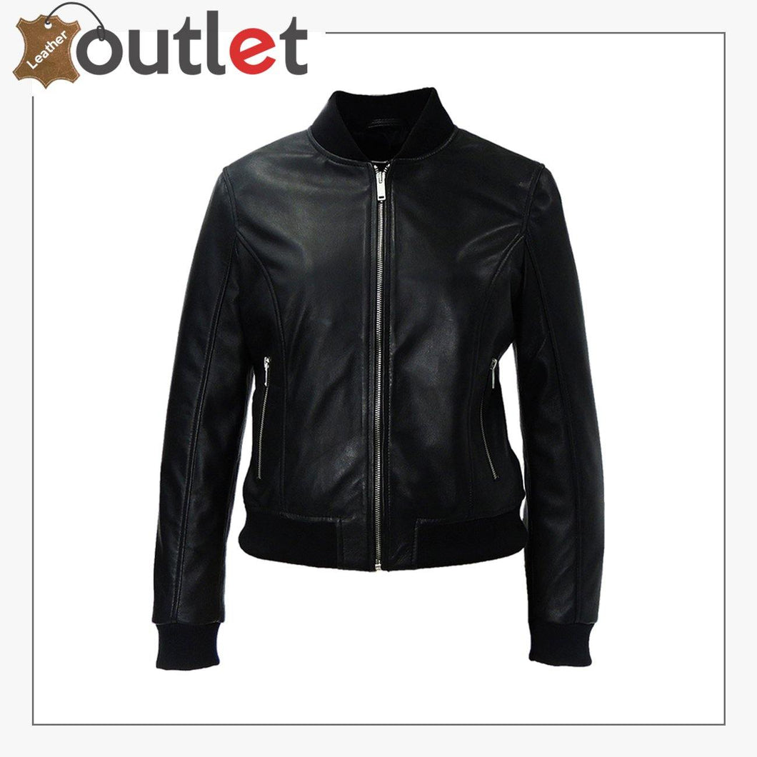 High Quality Black Leather Bomber Jacket - Leather Outlet