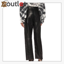 Load image into Gallery viewer, High-rise wide-leg leather jeans Pants
