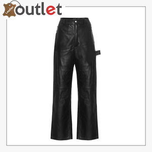 High-rise wide-leg leather jeans Pants