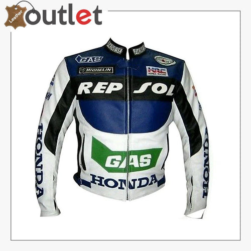 Honda Repsol Gas Motorcycle Biker Leather Jacket
