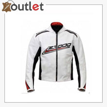 Load image into Gallery viewer, Kawasaki Z1000 White Black Strip Leather Biker Jacket
