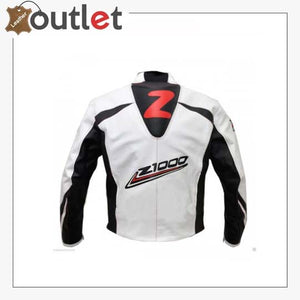 Kawasaki Z1000 White Black Strip Leather Biker Jacket