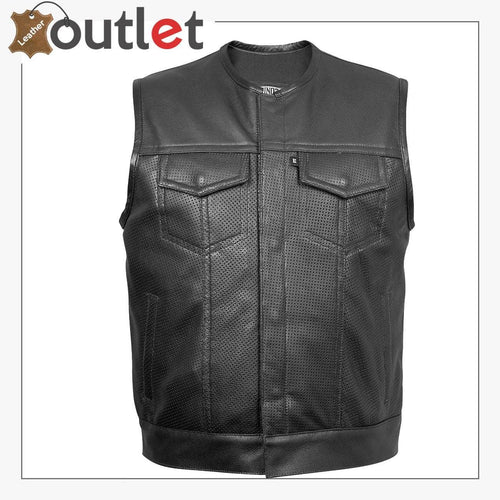 Kent Men's Leather Vest with Removable Black Hoodie