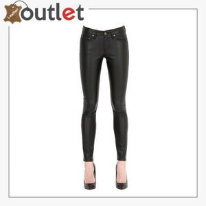 Style Leather Jeans Pants