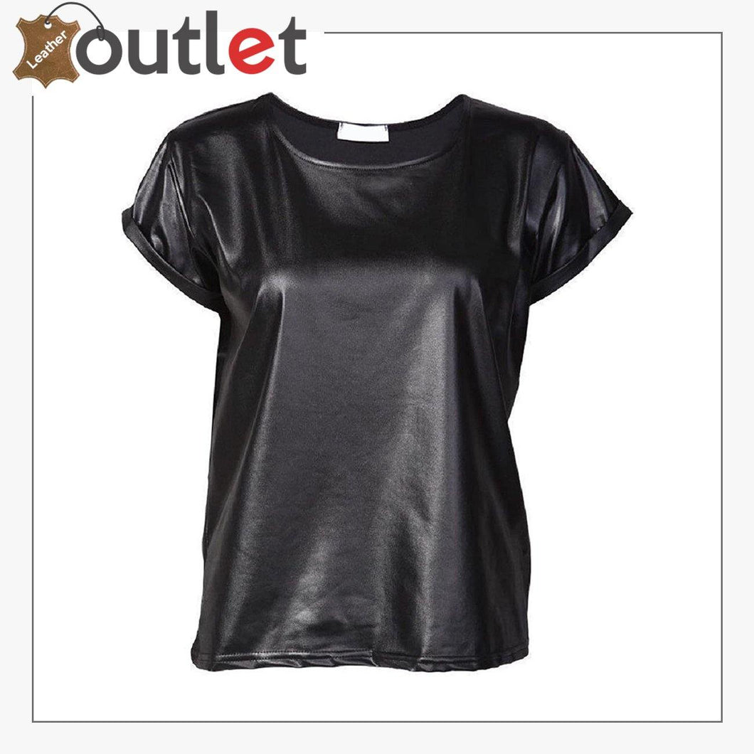 Ladies Celebrity TOP Leather Wet Look T-Shirt Vest
