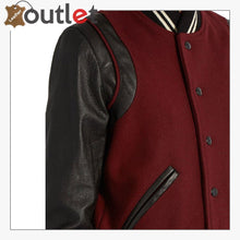 Load image into Gallery viewer, Ladies Maroon Wool-blend and leather teddy Varsity Jacket - Leather Outlet