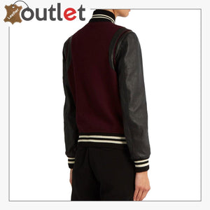 Ladies Maroon Wool-blend and leather teddy Varsity Jacket - Leather Outlet