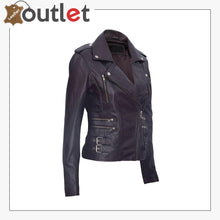 Load image into Gallery viewer, Ladies Purple Real 100% Lamb Nappa Leather Biker Jacket