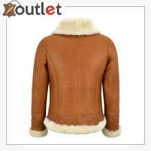 Load image into Gallery viewer, Ladies Sheepskin Jacket White Shearling Asymmetric Real Fur Bomber Jacket