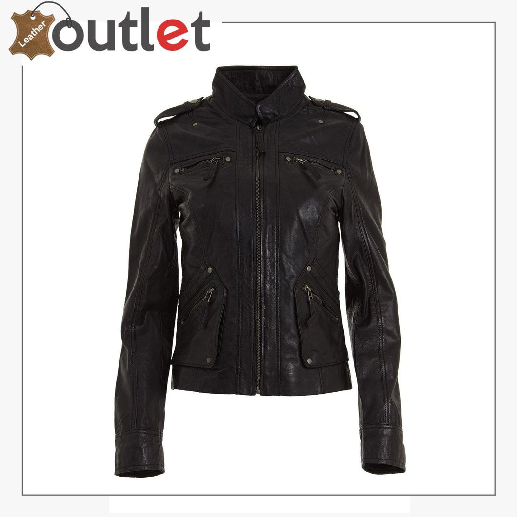 Ladies Womens Classic Black Fashion Soft Nappa Leather Fitted Rock Jacket