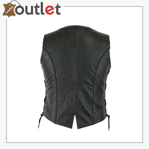 Ladies real leather laced up Motorcycle Style Biker Waistcoat Women's Gillette vest