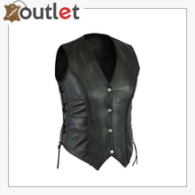 Load image into Gallery viewer, Ladies real leather laced up Motorcycle Style Biker Waistcoat Women's Gillette vest