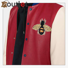 Load image into Gallery viewer, Leather Bomber Jacket with Embroidery