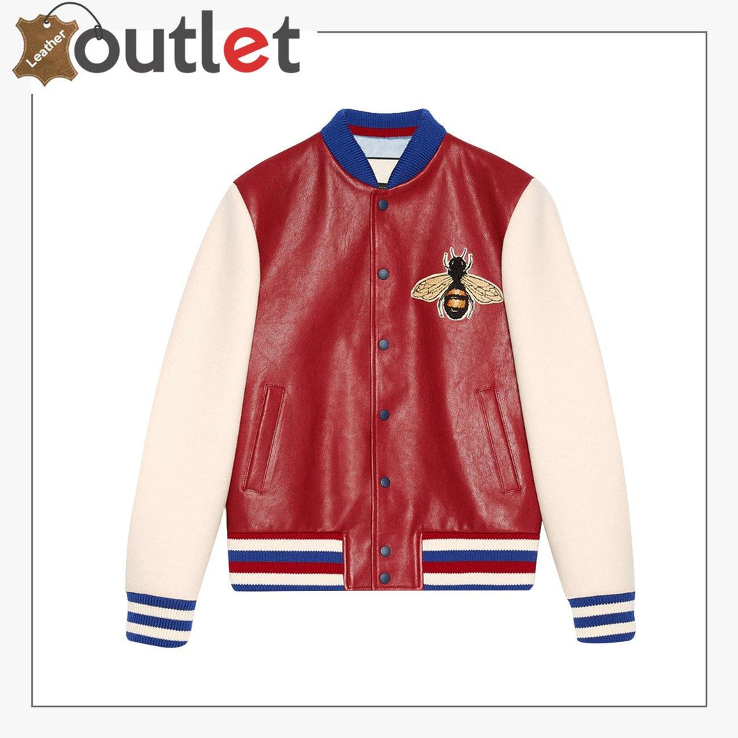 Leather Bomber Jacket with Embroidery