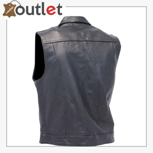 Men's Classic Black Leather Motorcycle Vest