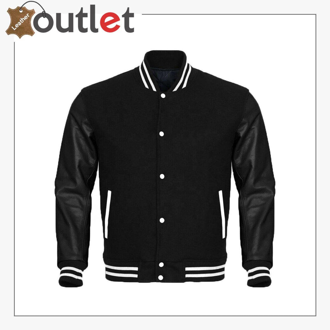 Letterman Sheep Nappa Leather Sleeves Varsity Jacket - Leather Outlet