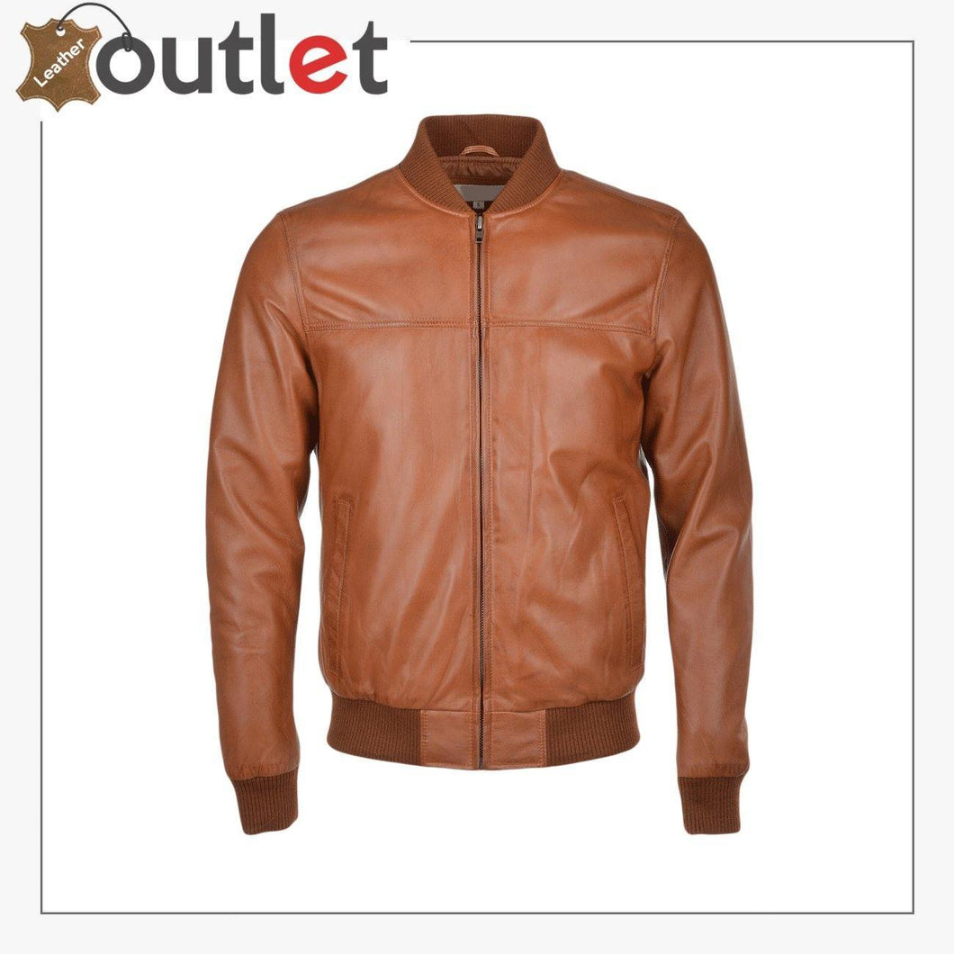 Light Brown Leather Bomber Jacket