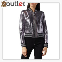 Load image into Gallery viewer, Pink Metallic Bomber Studded Biker Jacket