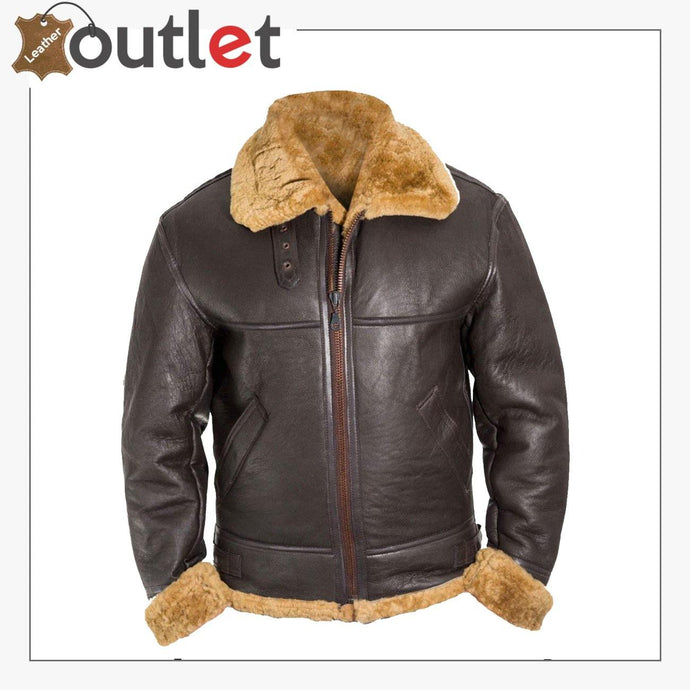 Men B3 Bomber Raf Leather Shearling Jacket