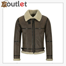 Load image into Gallery viewer, Men B3 Brown Air Force Leather Shearling Jacket