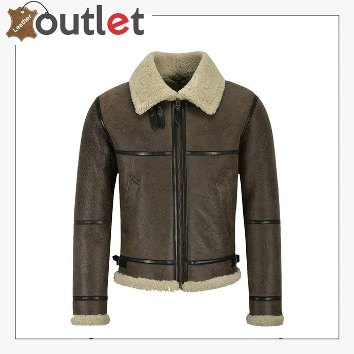 Men B3 Brown Air Force Leather Shearling Jacket