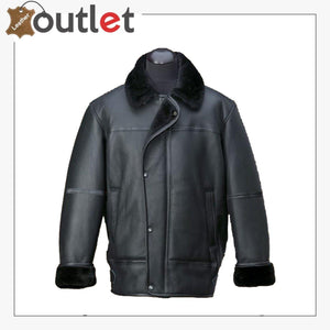 Men Black Aircraft Leather Shearling Jacket