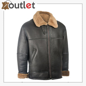 Men Black Aviator Leather Shearling Jacket