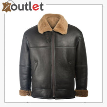 Load image into Gallery viewer, Men Black Aviator Leather Shearling Jacket