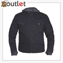 Load image into Gallery viewer, MENS BLACK DENIM MOTORCYCLE JACKET