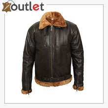 Load image into Gallery viewer, MEN'S Aviator B3 brown shaded sheepskin fur leather bomber flying jacket
