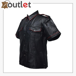 Handmade Mens Real Leather Black Police Shirt for Sale