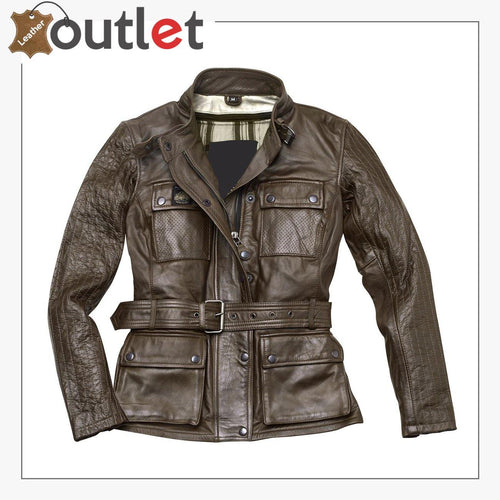 Madrid Ladies Motorcycle Leather Jacket for Womens