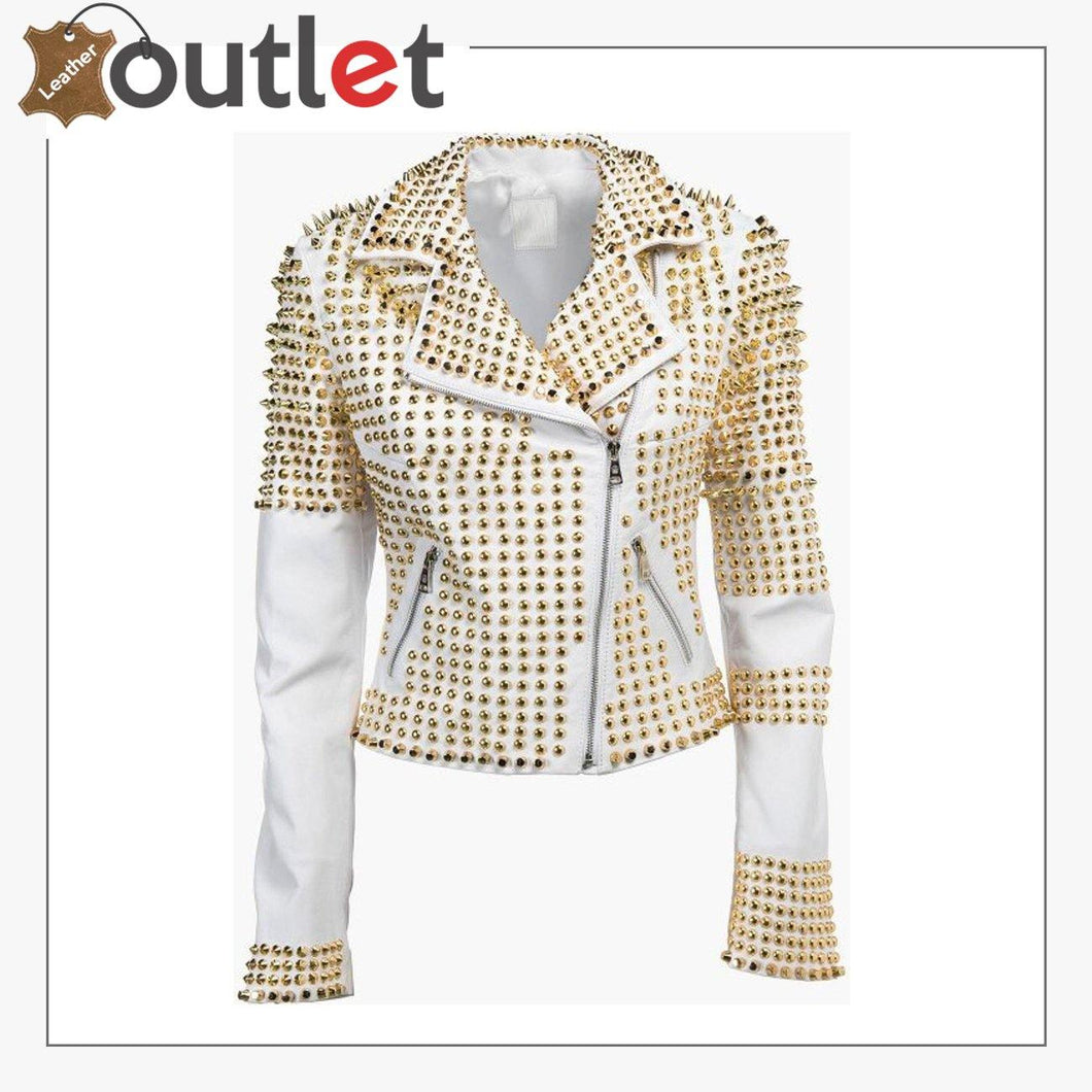 Steampunk Clothing Golden Studded Punk Leather Jacket