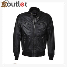 Load image into Gallery viewer, Men Biker Bomber Style Leather Jakcet