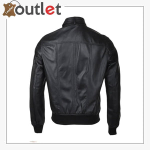 Men Biker Bomber Style Leather Jakcet