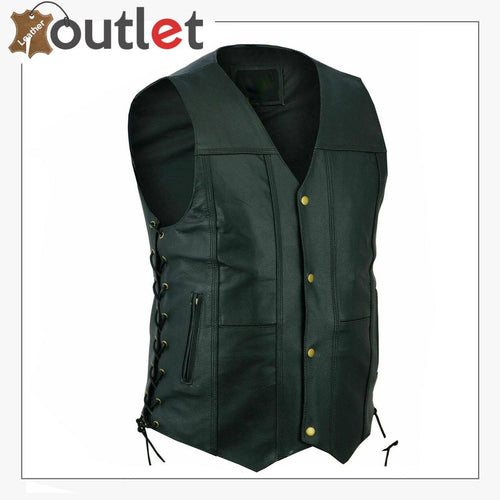 Men Black Genuine Leather Vest