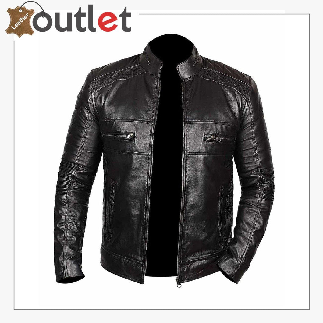 Men Black Stylish Real Leather Biker Motorcycle jacket